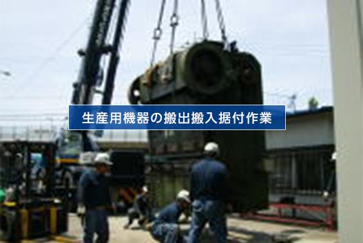 生産用機器の搬出搬入据付作業